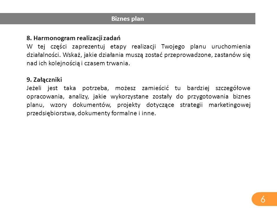 8. Harmonogram realizacji zadań W tej części zaprezentuj etapy realizacji Twojego planu uruchomienia działalności. Wskaż, jakie działania muszą zostać