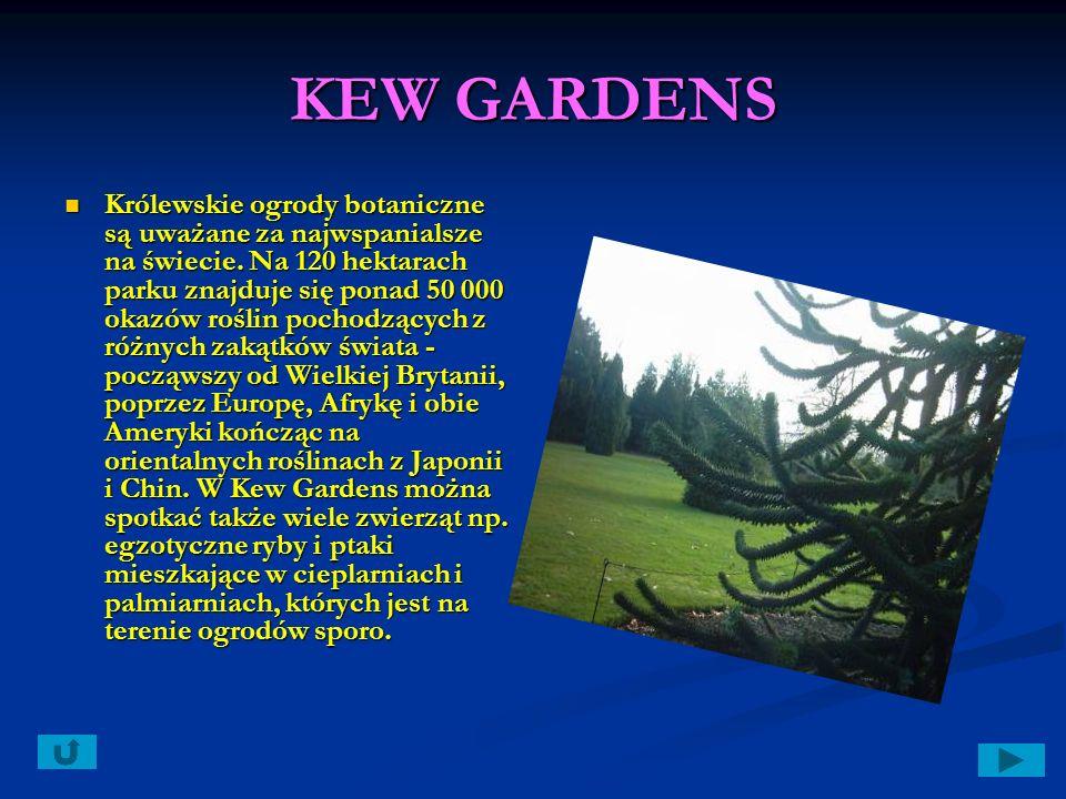 KEW GARDENS Królewskie ogrody botaniczne są uważane za najwspanialsze na świecie.