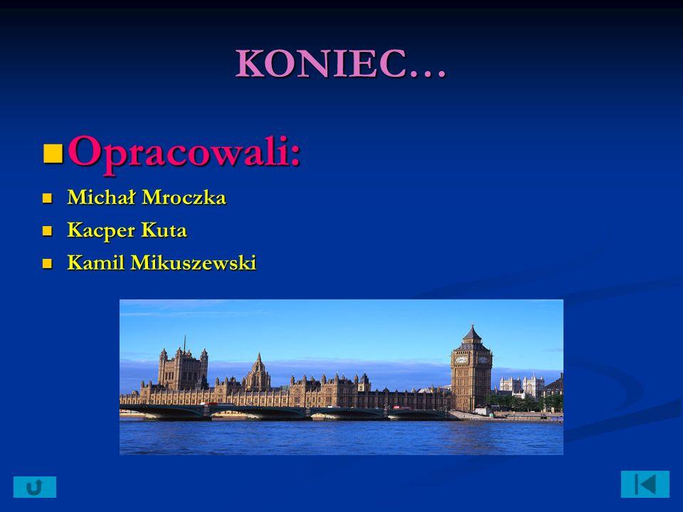 KONIEC… Opracowali: Opracowali: Michał Mroczka Michał Mroczka Kacper Kuta Kacper Kuta Kamil Mikuszewski Kamil Mikuszewski