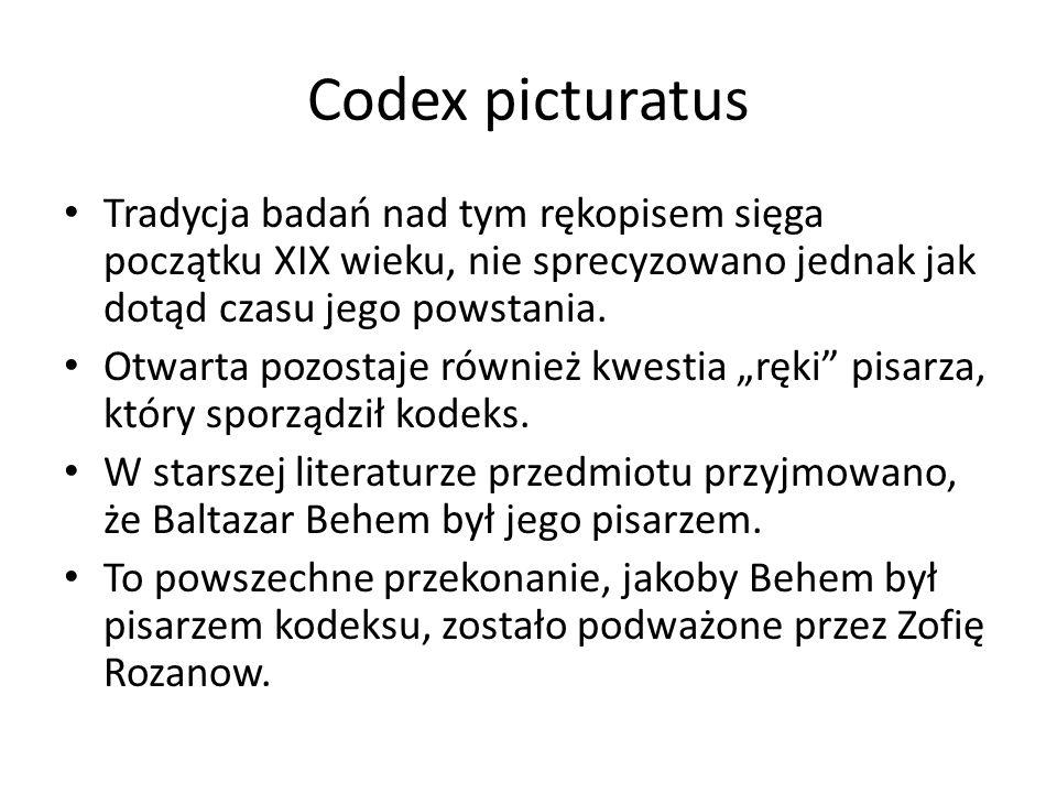 Codex picturatus Tradycja badań nad tym rękopisem sięga początku XIX wieku, nie sprecyzowano jednak jak dotąd czasu jego powstania.