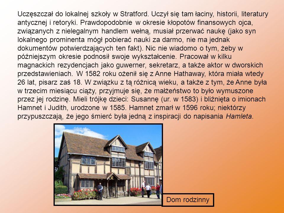 Uczęszczał do lokalnej szkoły w Stratford. Uczył się tam łaciny, historii, literatury antycznej i retoryki. Prawdopodobnie w okresie kłopotów finansow