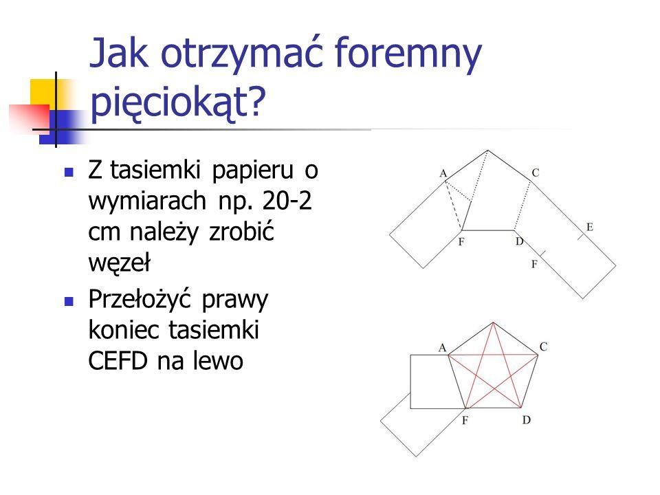 Jak otrzymać foremny pięciokąt? Z tasiemki papieru o wymiarach np. 20-2 cm należy zrobić węzeł Przełożyć prawy koniec tasiemki CEFD na lewo