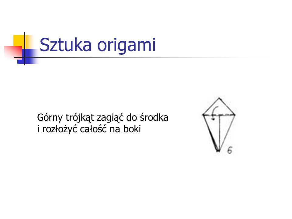 Sztuka origami Górny trójkąt zagiąć do środka i rozłożyć całość na boki