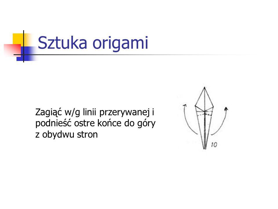 Sztuka origami Zagiąć w/g linii przerywanej i podnieść ostre końce do góry z obydwu stron