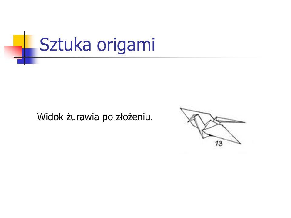 Sztuka origami Widok żurawia po złożeniu.