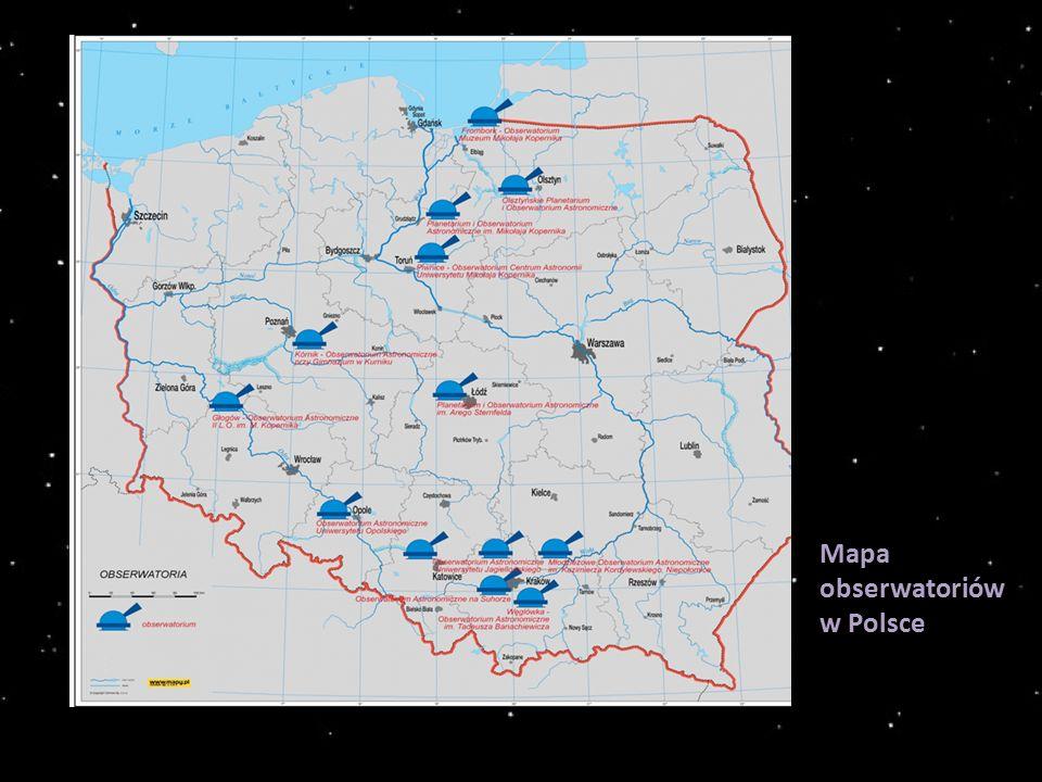 Mapa obserwatoriów w Polsce