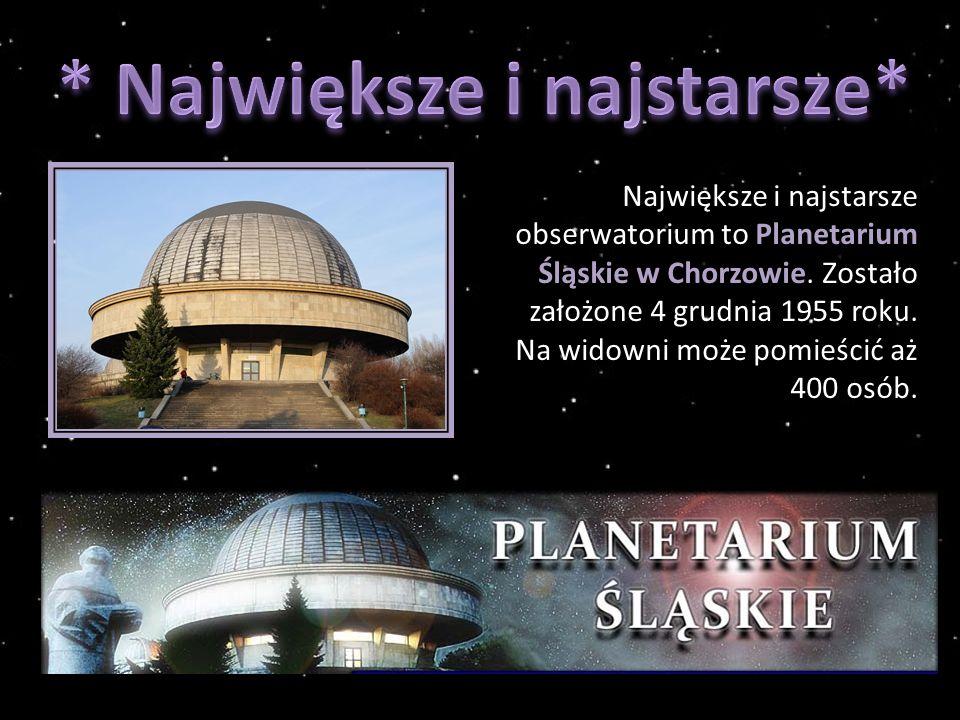 Największe i najstarsze obserwatorium to Planetarium Śląskie w Chorzowie.