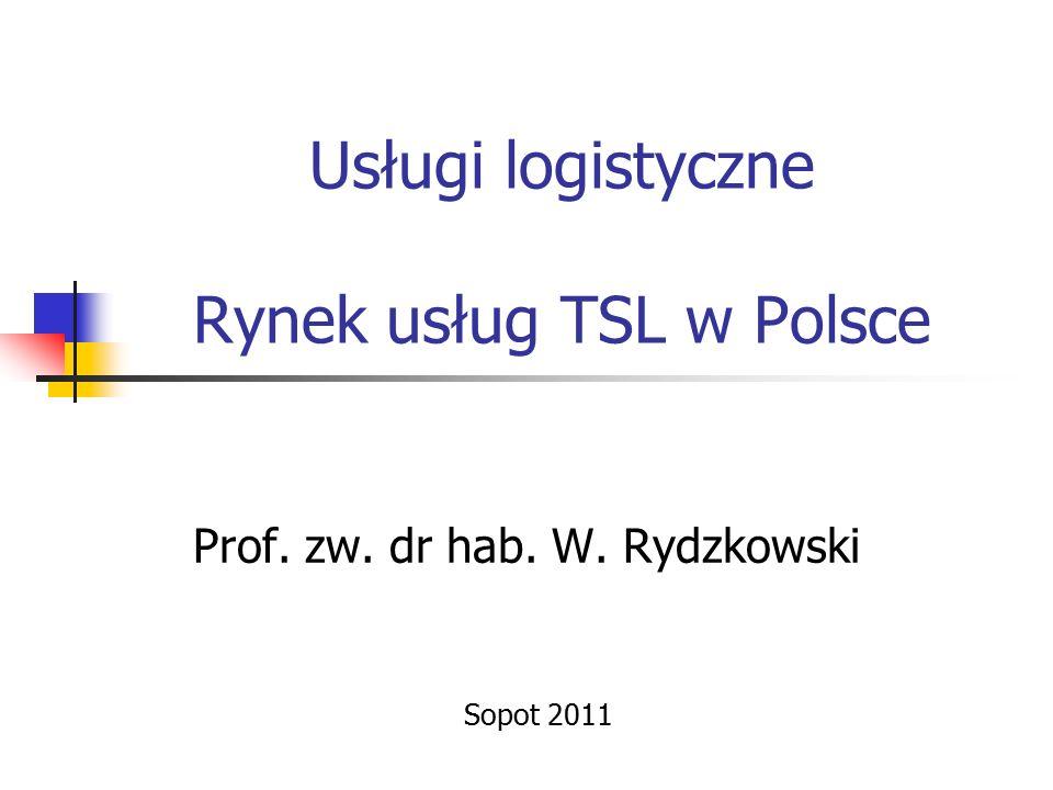 Usługi logistyczne Rynek usług TSL w Polsce Prof. zw. dr hab. W. Rydzkowski Sopot 2011