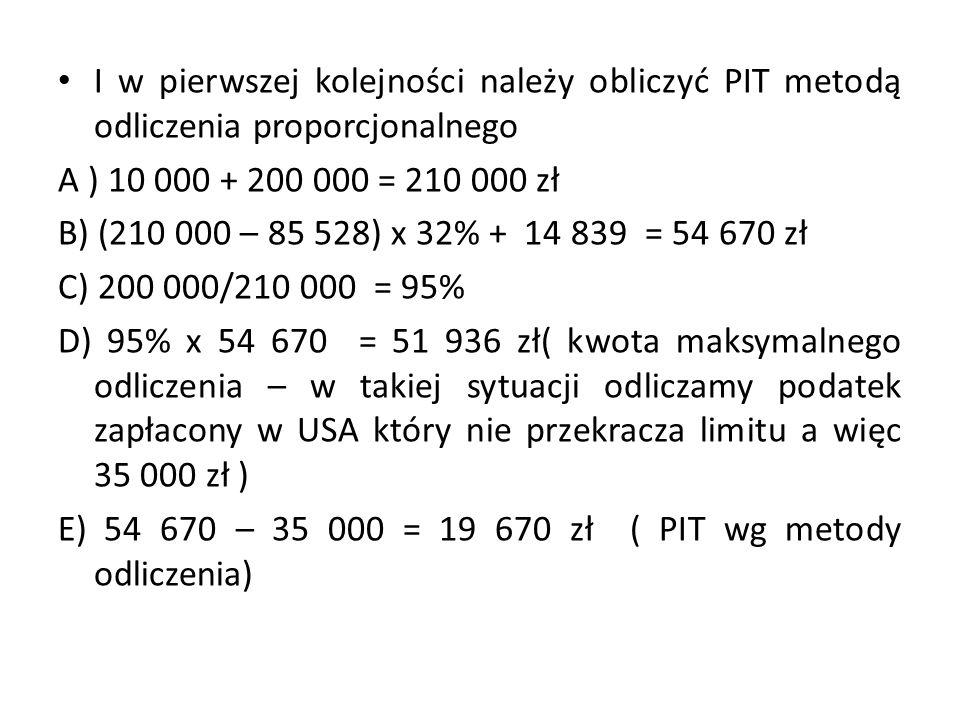 I w pierwszej kolejności należy obliczyć PIT metodą odliczenia proporcjonalnego A ) 10 000 + 200 000 = 210 000 zł B) (210 000 – 85 528) x 32% + 14 839 = 54 670 zł C) 200 000/210 000 = 95% D) 95% x 54 670 = 51 936 zł( kwota maksymalnego odliczenia – w takiej sytuacji odliczamy podatek zapłacony w USA który nie przekracza limitu a więc 35 000 zł ) E) 54 670 – 35 000 = 19 670 zł ( PIT wg metody odliczenia)