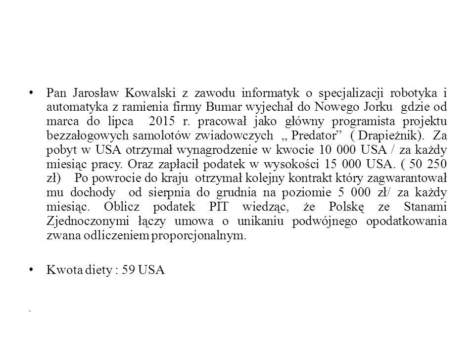 Pan Jarosław Kowalski z zawodu informatyk o specjalizacji robotyka i automatyka z ramienia firmy Bumar wyjechał do Nowego Jorku gdzie od marca do lipc