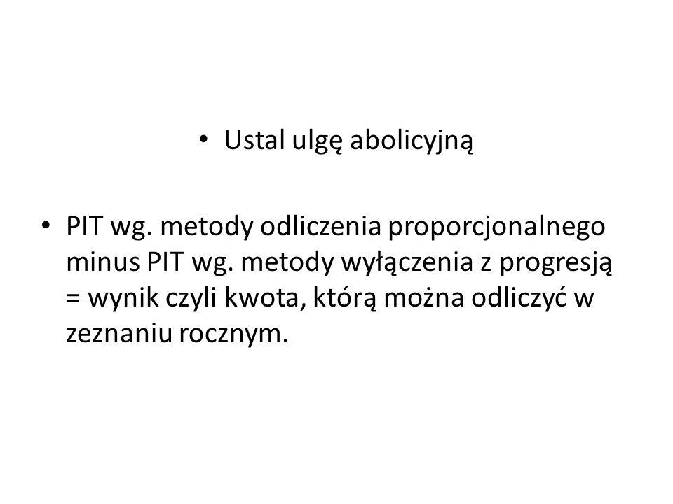 Ustal ulgę abolicyjną PIT wg.metody odliczenia proporcjonalnego minus PIT wg.