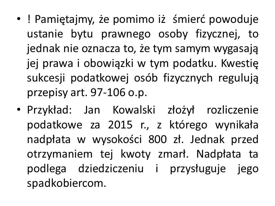 Przykład obliczania podatku metodą wyłączenia z progresją: Jan Kowalski, mający miejsce zamieszkania na terytorium Polski, osiągnął w 2015 r.