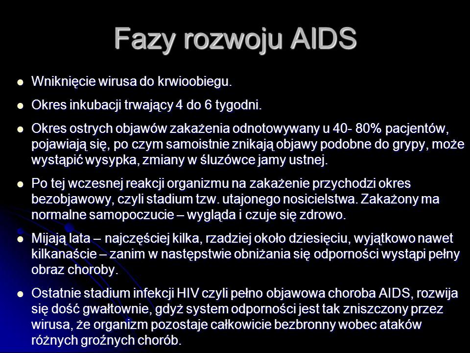 Fazy rozwoju AIDS Wniknięcie wirusa do krwioobiegu. Wniknięcie wirusa do krwioobiegu. Okres inkubacji trwający 4 do 6 tygodni. Okres inkubacji trwając