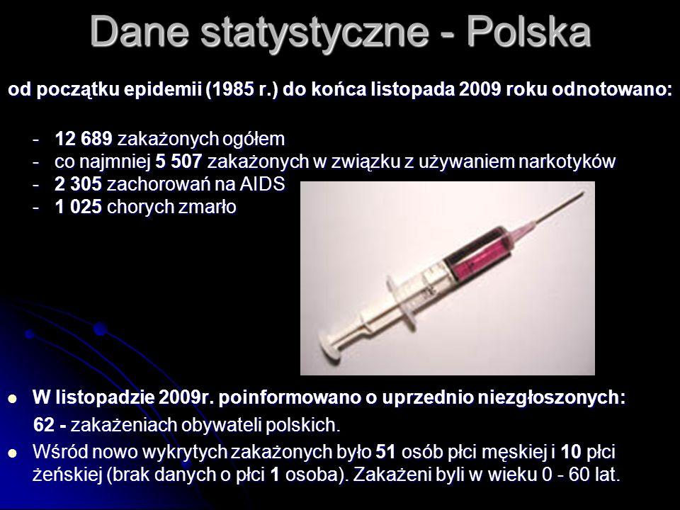 Dane statystyczne - Polska od początku epidemii (1985 r.) do końca listopada 2009 roku odnotowano: - 12 689 zakażonych ogółem - co najmniej 5 507 zaka