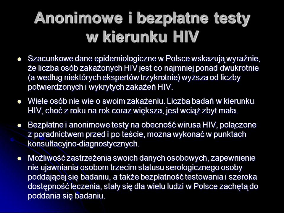 Anonimowe i bezpłatne testy w kierunku HIV Szacunkowe dane epidemiologiczne w Polsce wskazują wyraźnie, że liczba osób zakażonych HIV jest co najmniej