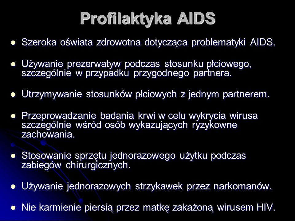 Profilaktyka AIDS Szeroka oświata zdrowotna dotycząca problematyki AIDS. Szeroka oświata zdrowotna dotycząca problematyki AIDS. Używanie prezerwatyw p