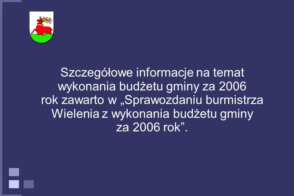 """Szczegółowe informacje na temat wykonania budżetu gminy za 2006 rok zawarto w """"Sprawozdaniu burmistrza Wielenia z wykonania budżetu gminy za 2006 rok ."""