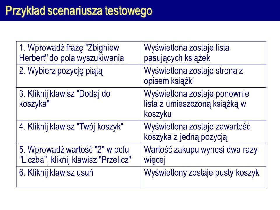 Przykład scenariusza testowego 1.
