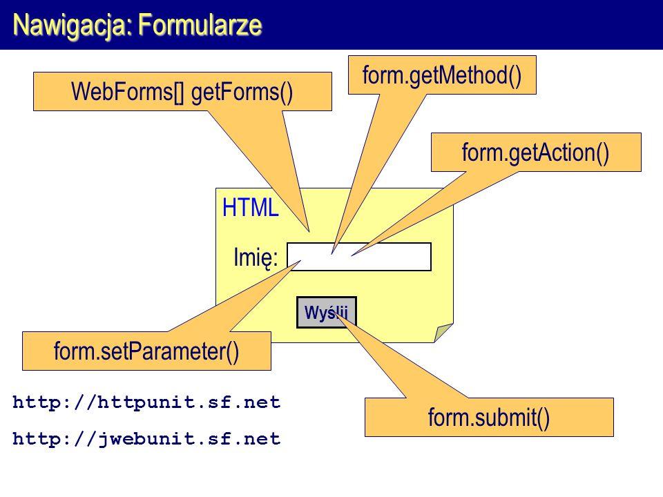 Nawigacja: Formularze HTML WebForms[] getForms() Imię: form.getMethod() Wyślij form.submit() form.getAction() form.setParameter() http://httpunit.sf.net http://jwebunit.sf.net