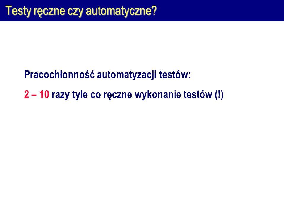 Automatyzacja wykonywania testów  Skrypty automatyczne nie są podobne do skryptów ręcznych  Nie automatyzuj testowania przez proste nagrywanie testów  Automatyczne wykonywanie z 'ręczną' weryfikacją.