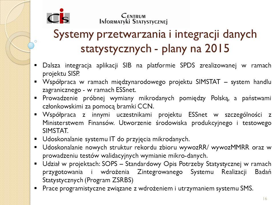 Systemy przetwarzania i integracji danych statystycznych - plany na 2015  Dalsza integracja aplikacji SIB na platformie SPDS zrealizowanej w ramach projektu SISP.