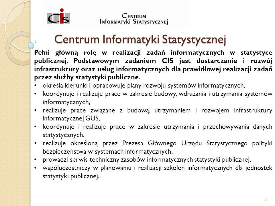 Centrum Informatyki Statystycznej Pełni główną rolę w realizacji zadań informatycznych w statystyce publicznej.