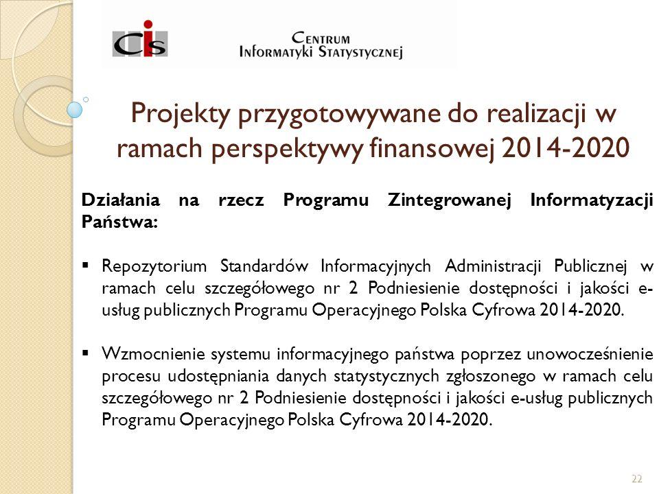 Projekty przygotowywane do realizacji w ramach perspektywy finansowej 2014-2020 Działania na rzecz Programu Zintegrowanej Informatyzacji Państwa:  Repozytorium Standardów Informacyjnych Administracji Publicznej w ramach celu szczegółowego nr 2 Podniesienie dostępności i jakości e- usług publicznych Programu Operacyjnego Polska Cyfrowa 2014-2020.
