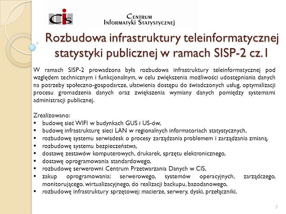Rozbudowa infrastruktury teleinformatycznej statystyki publicznej w ramach SISP-2 cz.1 W ramach SISP-2 prowadzona była rozbudowa infrastruktury teleinformatycznej pod względem technicznym i funkcjonalnym, w celu zwiększenia możliwości udostępniania danych na potrzeby społeczno-gospodarcze, ułatwienia dostępu do świadczonych usług, optymalizacji procesu gromadzenia danych oraz zwiększenia wymiany danych pomiędzy systemami administracji publicznej.