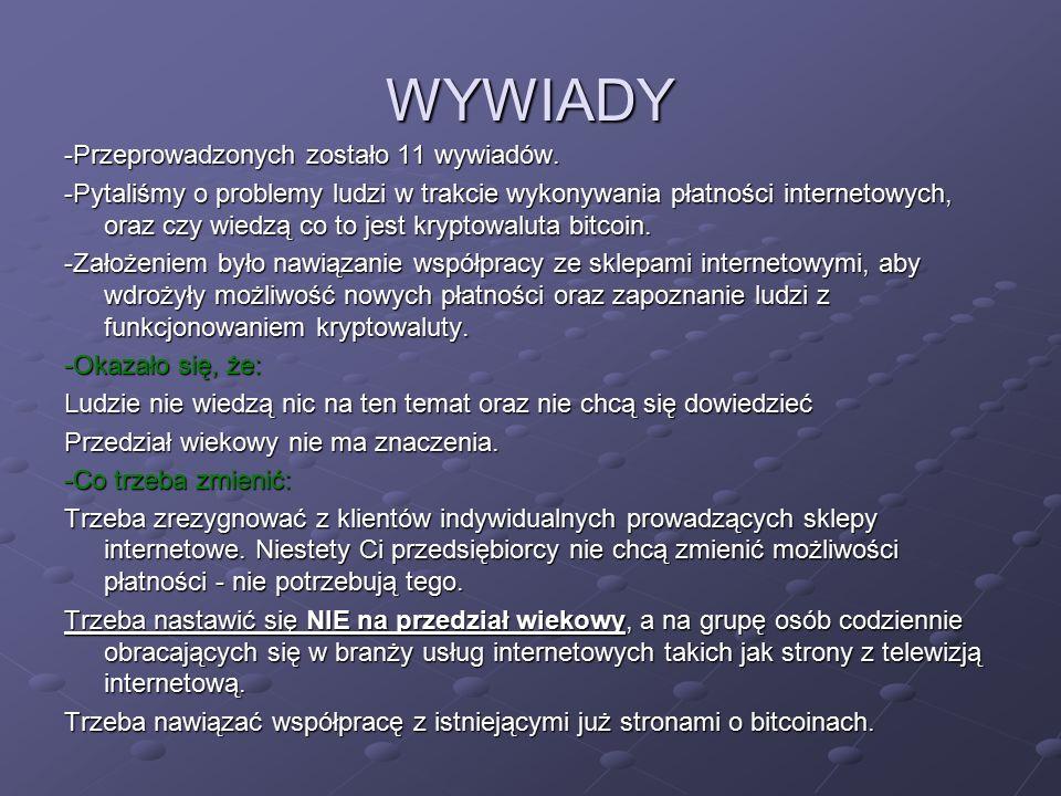 WYWIADY -Przeprowadzonych zostało 11 wywiadów.