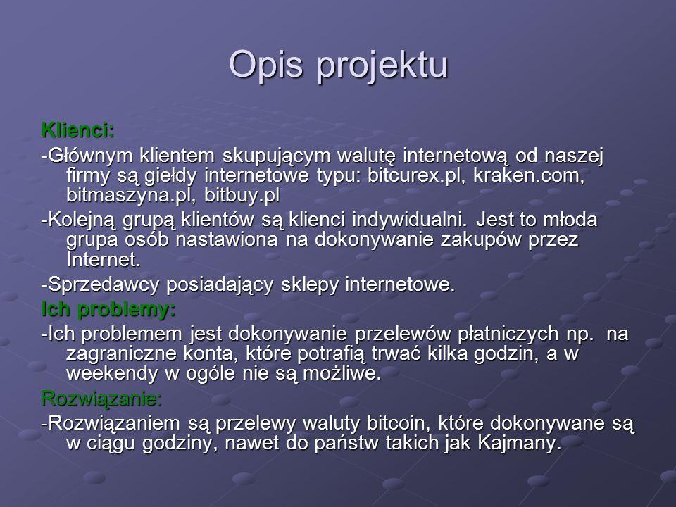 Opis projektu Klienci: -Głównym klientem skupującym walutę internetową od naszej firmy są giełdy internetowe typu: bitcurex.pl, kraken.com, bitmaszyna