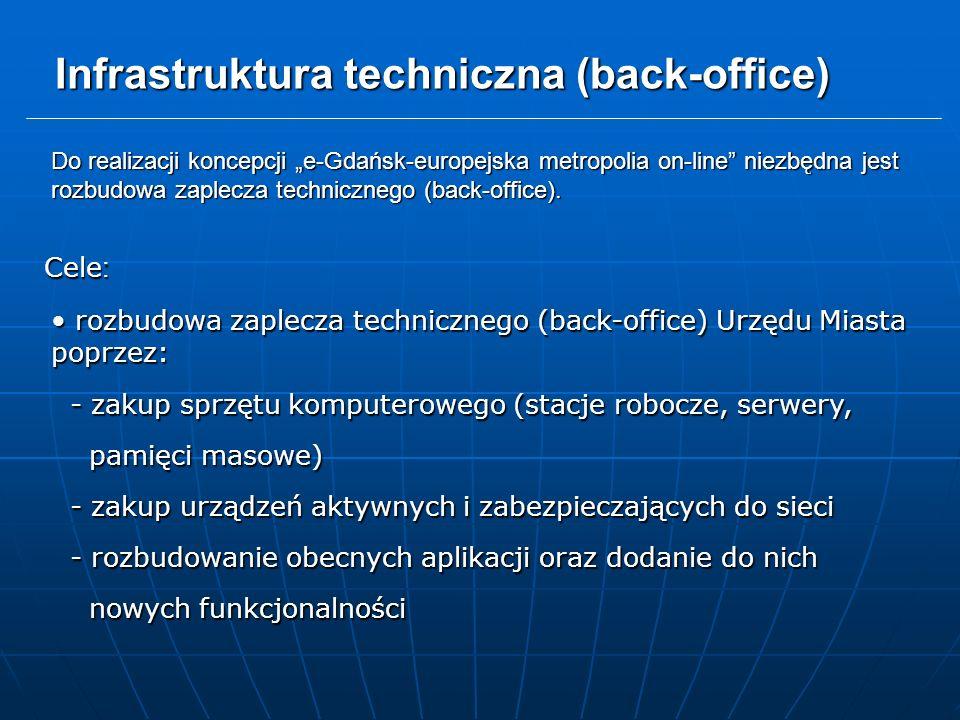 """Infrastruktura techniczna (back-office) Cele : rozbudowa zaplecza technicznego (back-office) Urzędu Miasta poprzez: rozbudowa zaplecza technicznego (back-office) Urzędu Miasta poprzez: - zakup sprzętu komputerowego (stacje robocze, serwery, - zakup sprzętu komputerowego (stacje robocze, serwery, pamięci masowe) pamięci masowe) - zakup urządzeń aktywnych i zabezpieczających do sieci - zakup urządzeń aktywnych i zabezpieczających do sieci - rozbudowanie obecnych aplikacji oraz dodanie do nich - rozbudowanie obecnych aplikacji oraz dodanie do nich nowych funkcjonalności nowych funkcjonalności Do realizacji koncepcji """"e-Gdańsk-europejska metropolia on-line niezbędna jest rozbudowa zaplecza technicznego (back-office)."""