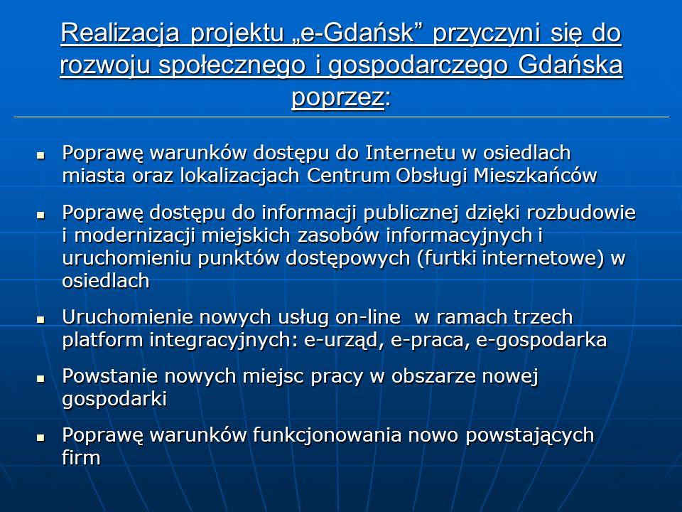 """Realizacja projektu """"e-Gdańsk przyczyni się do rozwoju społecznego i gospodarczego Gdańska poprzez: Poprawę warunków dostępu do Internetu w osiedlach miasta oraz lokalizacjach Centrum Obsługi Mieszkańców Poprawę warunków dostępu do Internetu w osiedlach miasta oraz lokalizacjach Centrum Obsługi Mieszkańców Poprawę dostępu do informacji publicznej dzięki rozbudowie i modernizacji miejskich zasobów informacyjnych i uruchomieniu punktów dostępowych (furtki internetowe) w osiedlach Poprawę dostępu do informacji publicznej dzięki rozbudowie i modernizacji miejskich zasobów informacyjnych i uruchomieniu punktów dostępowych (furtki internetowe) w osiedlach Uruchomienie nowych usług on-line w ramach trzech platform integracyjnych: e-urząd, e-praca, e-gospodarka Uruchomienie nowych usług on-line w ramach trzech platform integracyjnych: e-urząd, e-praca, e-gospodarka Powstanie nowych miejsc pracy w obszarze nowej gospodarki Powstanie nowych miejsc pracy w obszarze nowej gospodarki Poprawę warunków funkcjonowania nowo powstających firm Poprawę warunków funkcjonowania nowo powstających firm"""