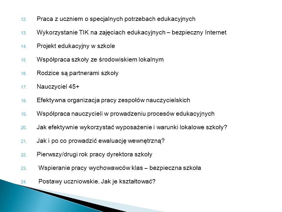 12. Praca z uczniem o specjalnych potrzebach edukacyjnych 13.