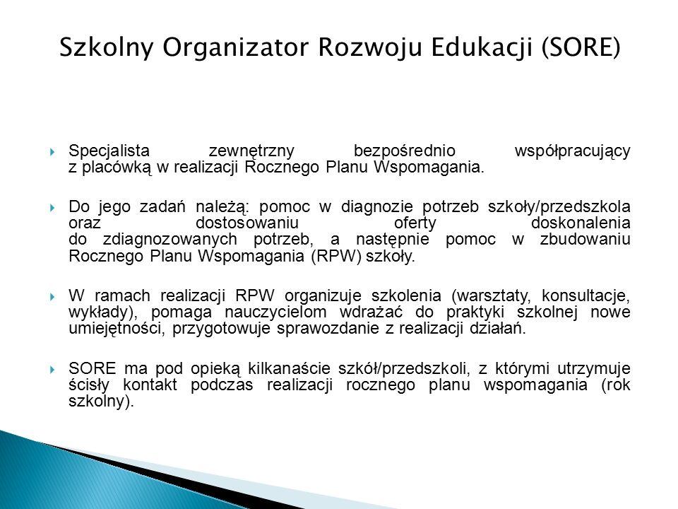Szkolny Organizator Rozwoju Edukacji (SORE)  Specjalista zewnętrzny bezpośrednio współpracujący z placówką w realizacji Rocznego Planu Wspomagania.