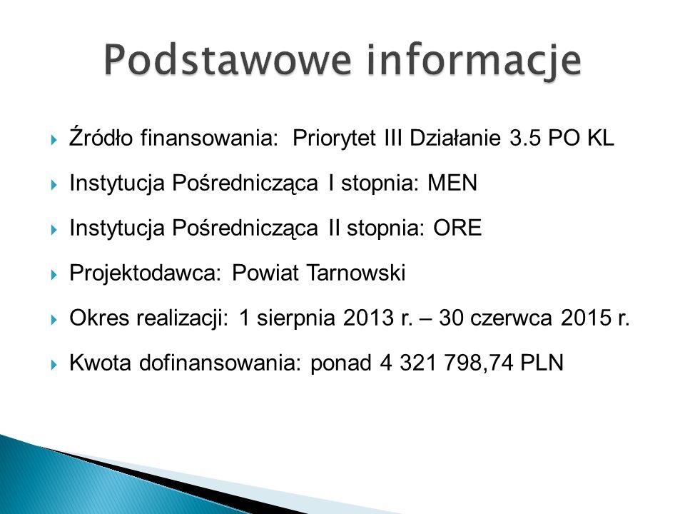  Źródło finansowania: Priorytet III Działanie 3.5 PO KL  Instytucja Pośrednicząca I stopnia: MEN  Instytucja Pośrednicząca II stopnia: ORE  Projektodawca: Powiat Tarnowski  Okres realizacji: 1 sierpnia 2013 r.