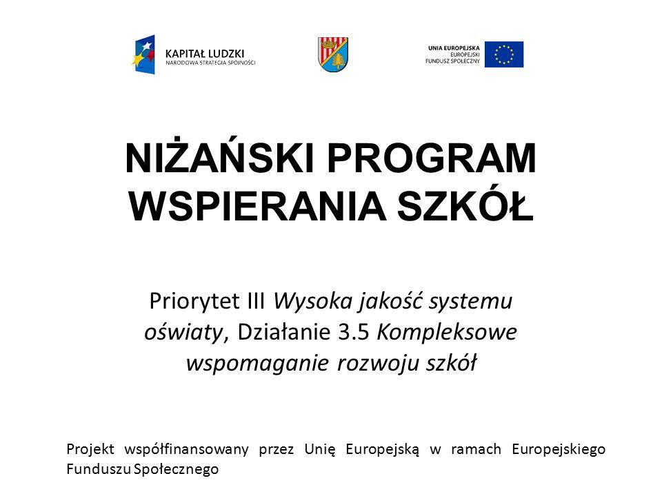 NIŻAŃSKI PROGRAM WSPIERANIA SZKÓŁ Priorytet III Wysoka jakość systemu oświaty, Działanie 3.5 Kompleksowe wspomaganie rozwoju szkół Projekt współfinansowany przez Unię Europejską w ramach Europejskiego Funduszu Społecznego