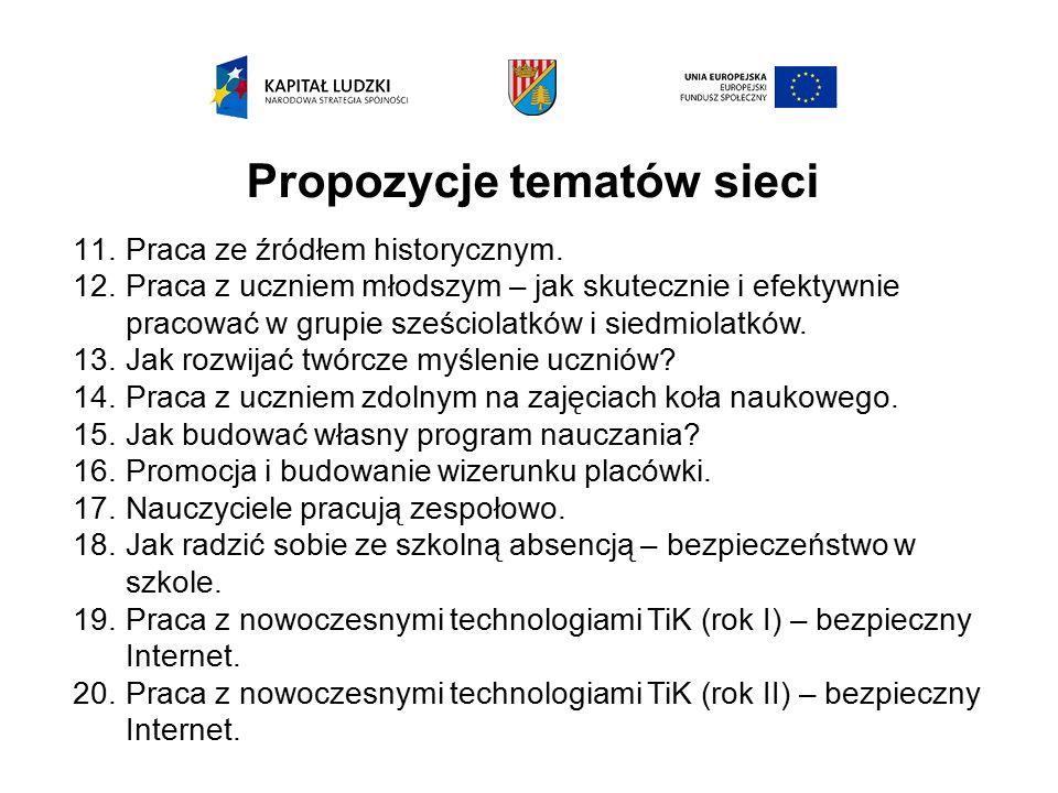 Propozycje tematów sieci 11.Praca ze źródłem historycznym.