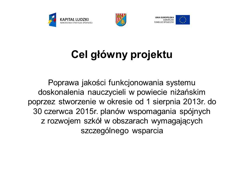 Cel główny projektu Poprawa jakości funkcjonowania systemu doskonalenia nauczycieli w powiecie niżańskim poprzez stworzenie w okresie od 1 sierpnia 2013r.
