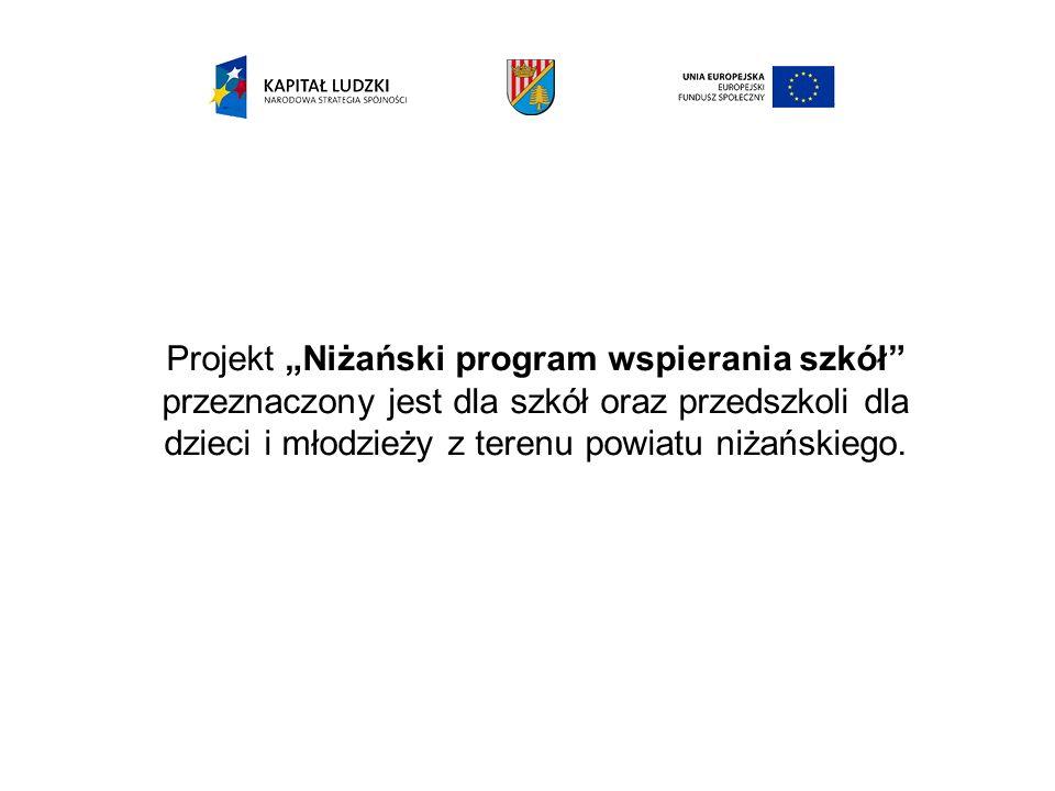 """Projekt """"Niżański program wspierania szkół przeznaczony jest dla szkół oraz przedszkoli dla dzieci i młodzieży z terenu powiatu niżańskiego."""