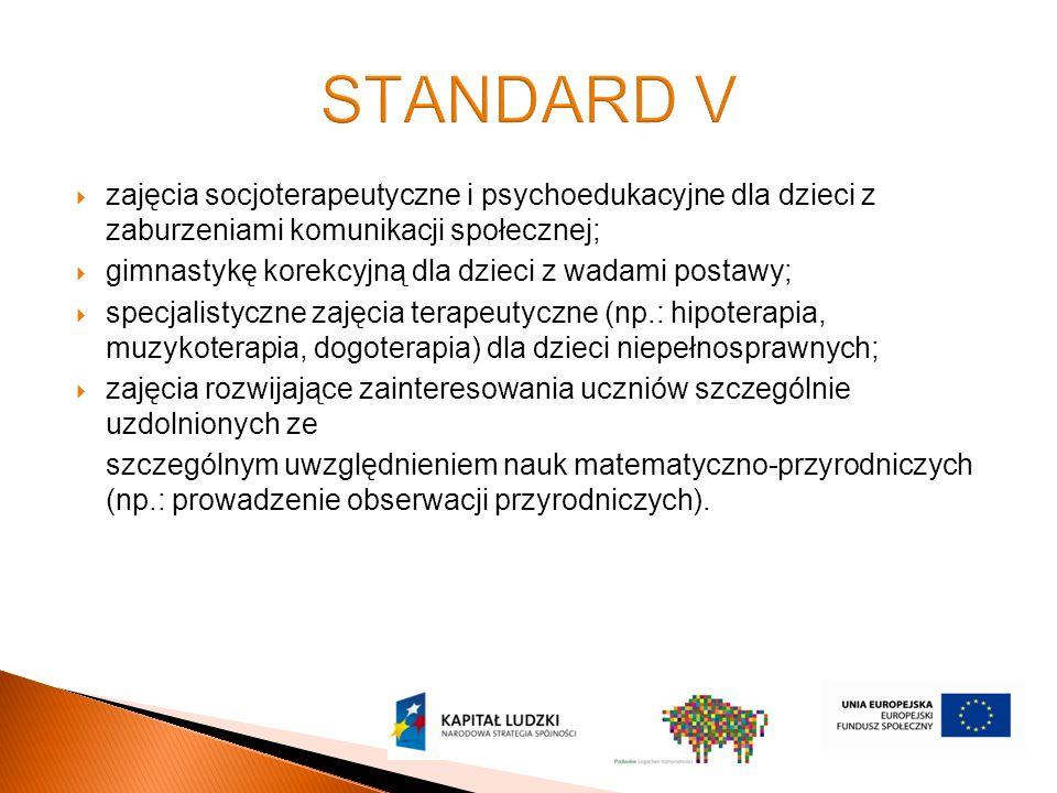  zajęcia socjoterapeutyczne i psychoedukacyjne dla dzieci z zaburzeniami komunikacji społecznej;  gimnastykę korekcyjną dla dzieci z wadami postawy;  specjalistyczne zajęcia terapeutyczne (np.: hipoterapia, muzykoterapia, dogoterapia) dla dzieci niepełnosprawnych;  zajęcia rozwijające zainteresowania uczniów szczególnie uzdolnionych ze szczególnym uwzględnieniem nauk matematyczno-przyrodniczych (np.: prowadzenie obserwacji przyrodniczych).