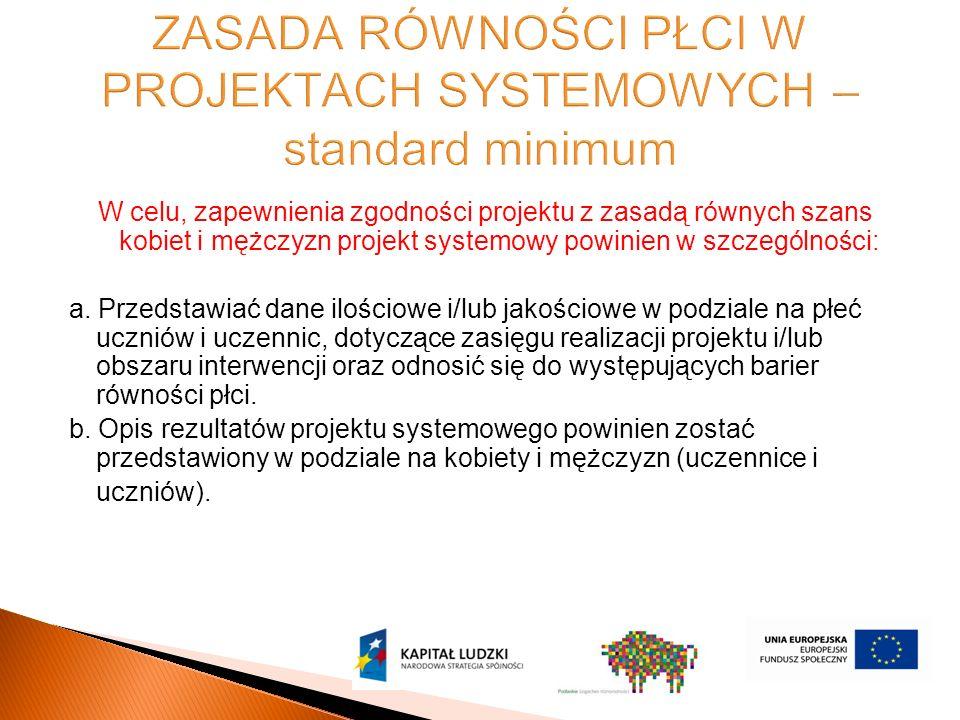 W celu, zapewnienia zgodności projektu z zasadą równych szans kobiet i mężczyzn projekt systemowy powinien w szczególności: a.