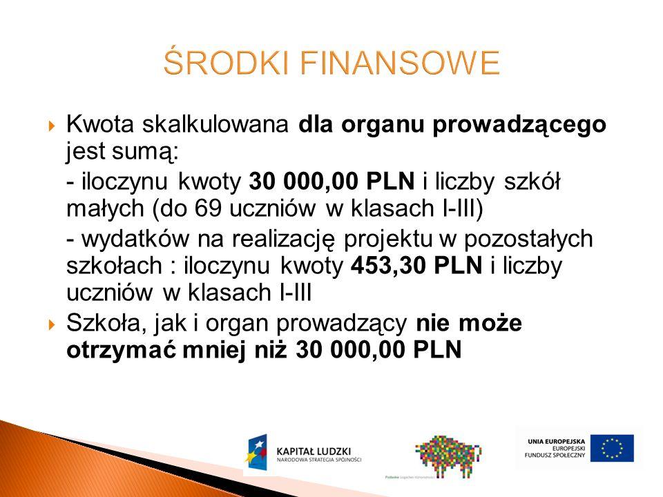  Kwota skalkulowana dla organu prowadzącego jest sumą: - iloczynu kwoty 30 000,00 PLN i liczby szkół małych (do 69 uczniów w klasach I-III) - wydatków na realizację projektu w pozostałych szkołach : iloczynu kwoty 453,30 PLN i liczby uczniów w klasach I-III  Szkoła, jak i organ prowadzący nie może otrzymać mniej niż 30 000,00 PLN