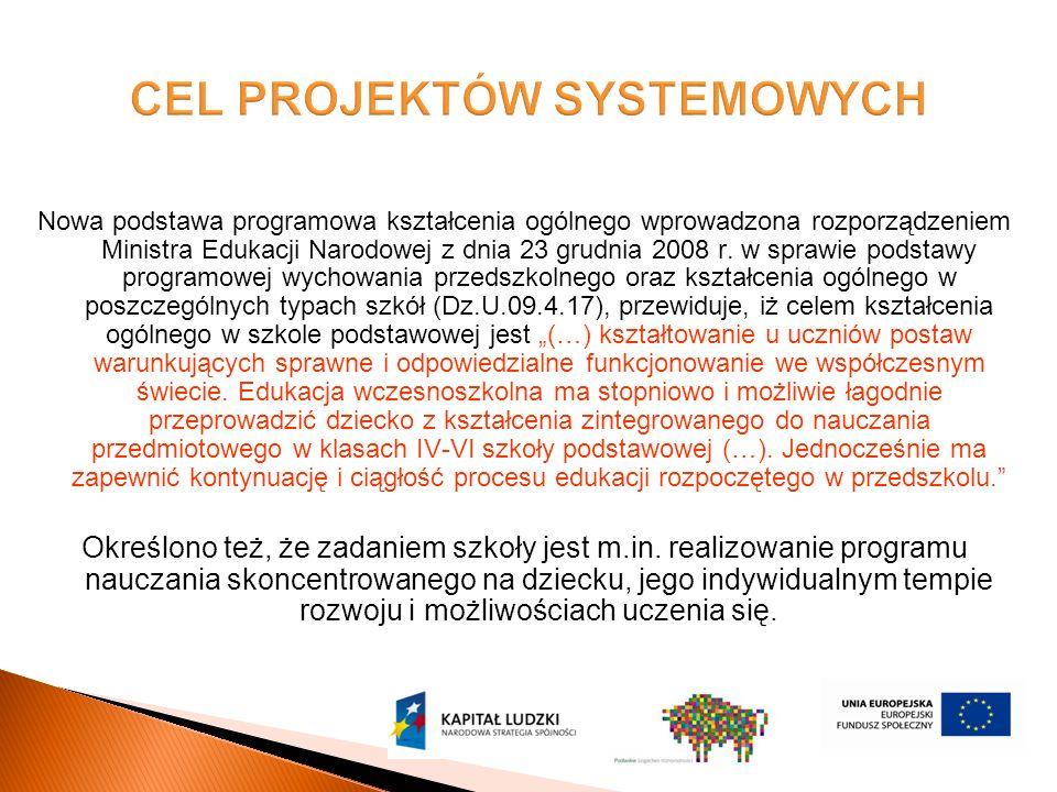 Nowa podstawa programowa kształcenia ogólnego wprowadzona rozporządzeniem Ministra Edukacji Narodowej z dnia 23 grudnia 2008 r.