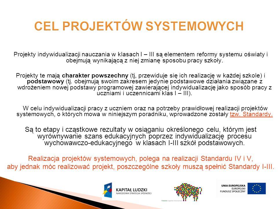 Projekty indywidualizacji nauczania w klasach I – III są elementem reformy systemu oświaty i obejmują wynikającą z niej zmianę sposobu pracy szkoły.