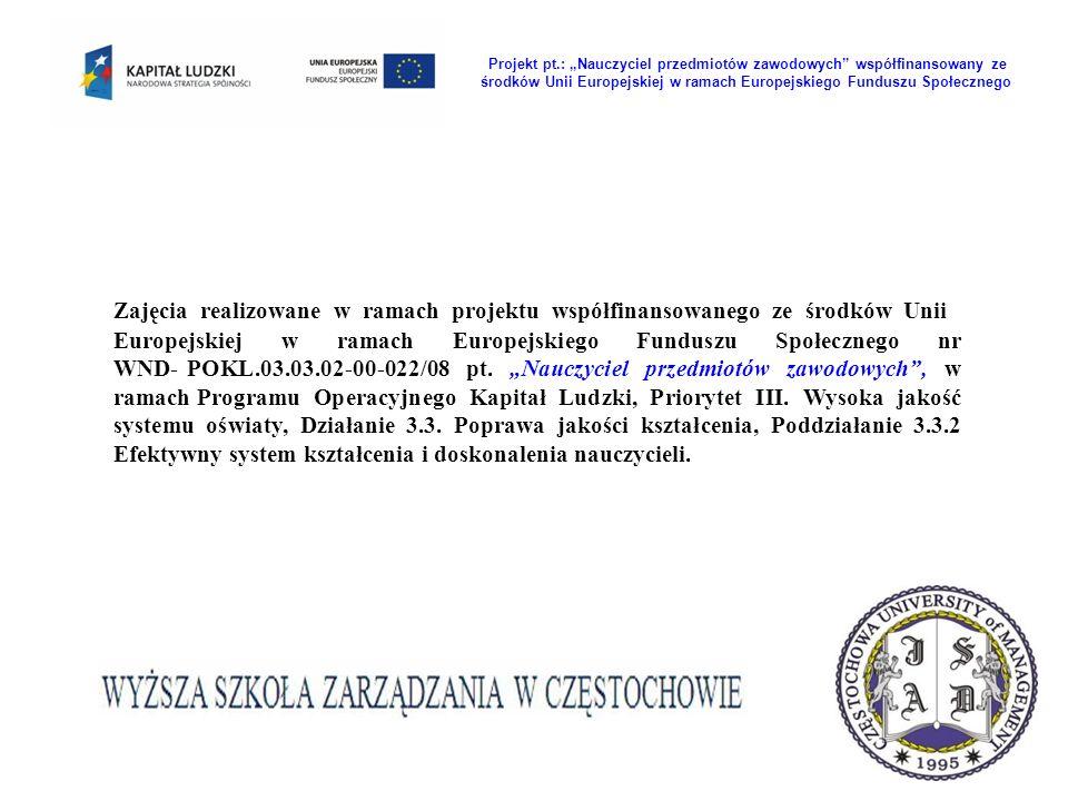 Zajęcia realizowane w ramach projektu współfinansowanego ze środków Unii Europejskiej w ramach Europejskiego Funduszu Społecznego nr WND- POKL.03.03.02-00-022/08 pt.