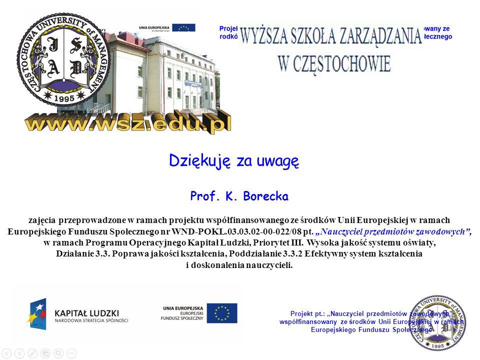 Dziękuję za uwagę Prof. K. Borecka zajęcia przeprowadzone w ramach projektu współfinansowanego ze środków Unii Europejskiej w ramach Europejskiego Fun
