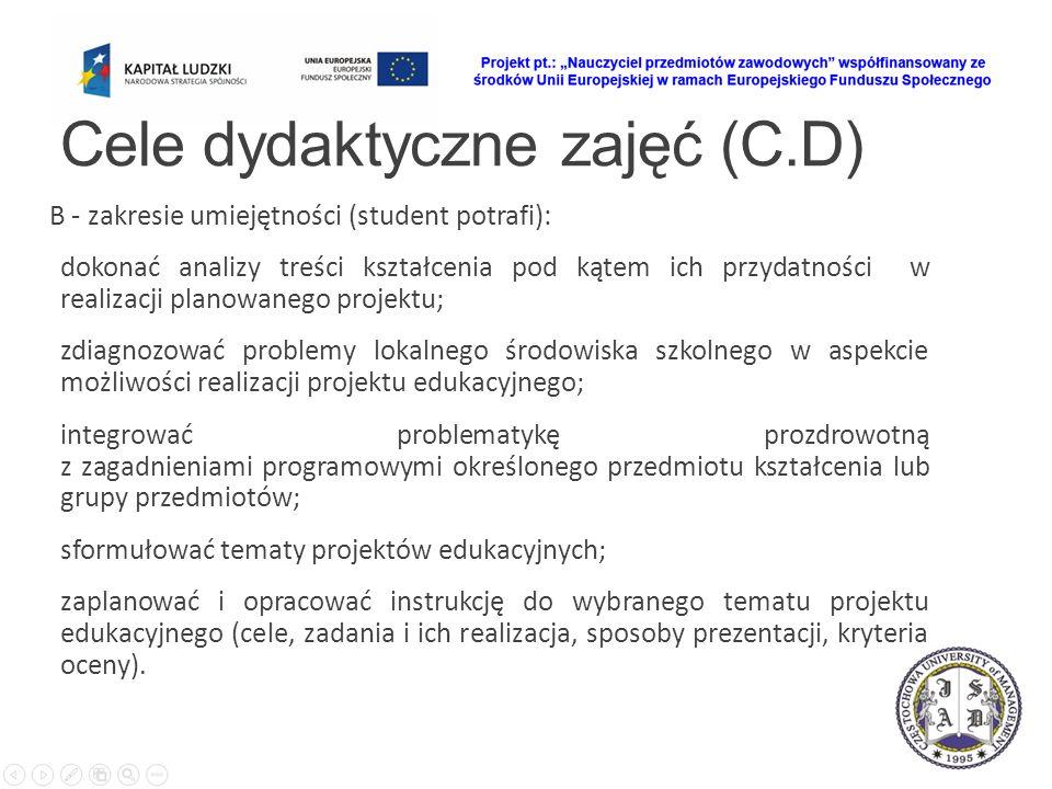 Cele dydaktyczne zajęć (C.D) B - zakresie umiejętności (student potrafi): dokonać analizy treści kształcenia pod kątem ich przydatności w realizacji p