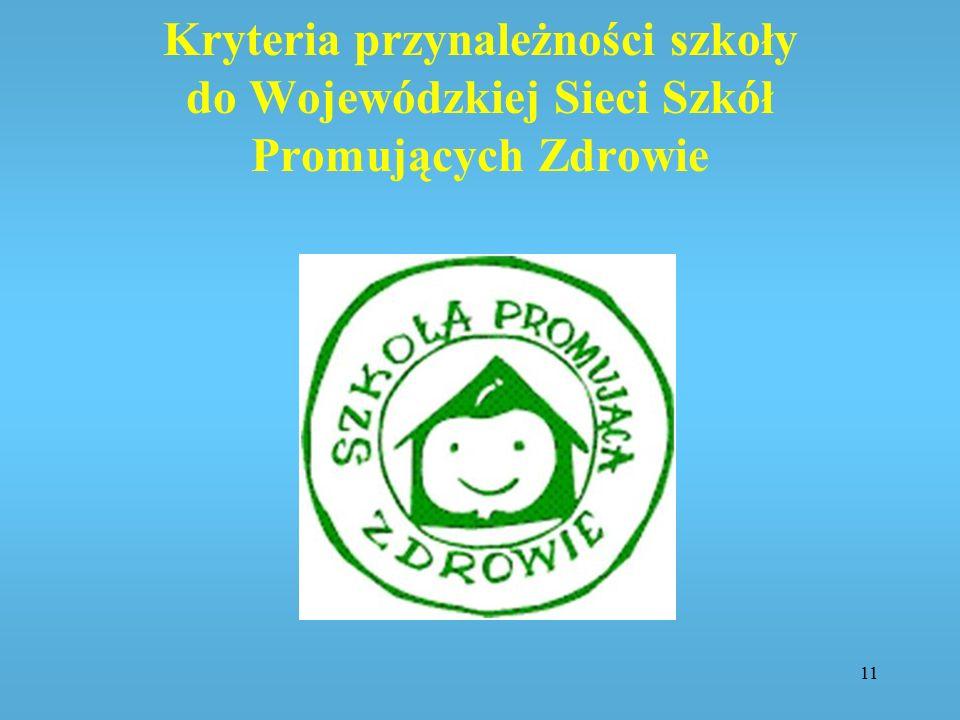 Kryteria przynależności szkoły do Wojewódzkiej Sieci Szkół Promujących Zdrowie 11