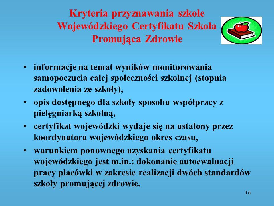 Kryteria przyznawania szkole Wojewódzkiego Certyfikatu Szkoła Promująca Zdrowie informacje na temat wyników monitorowania samopoczucia całej społeczno
