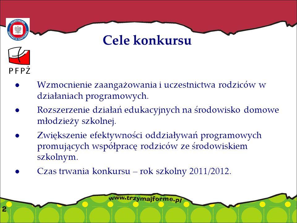 Cele konkursu Wzmocnienie zaangażowania i uczestnictwa rodziców w działaniach programowych. Rozszerzenie działań edukacyjnych na środowisko domowe mło